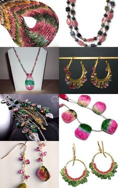 "--Pinned with TreasuryPin.com ""Watermelon Jewelry"" I love tourmalines, and this treasury title was perfect for all kinds of watermelon jewelry. Enjoy!"