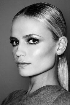 Natasha Poly with sleek hair, sculpted cheeks & metallic eyes #beauty #hair #makeup
