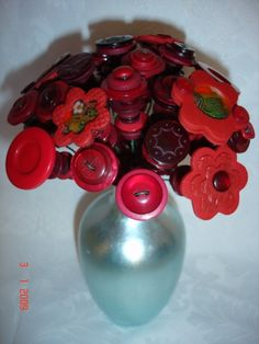 Etsy Transaction - Red Valentines Button Bouquet 20 stems