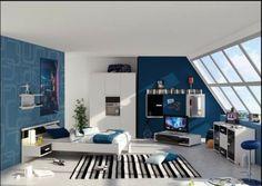 Farbgestaltung fürs Jugendzimmer – 100 Deko- und Einrichtungsideen - blau bemalt jugendzimmer jungen teenage urban geometrisch figuren
