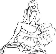 Fatina seduta su un fiore  Disegno da colorare