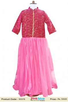 Designer Party Wear Gown for Kids - Traditional Indian Wedding Dress, Baby Luxury Party Dress, Princess Birthday Outfits, Kids Ethnic Clothing for Parties and Festivals, Children Casual Wear, Kids Clothing Collection