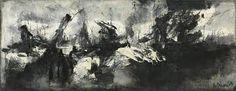 Zwart-wit olieverf schilderij. Een sea shore. Museum, Sea, Painting, Painting Art, The Ocean, Paintings, Ocean, Painted Canvas, Museums