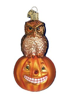 Owl and Pumpkin Glass Ornament