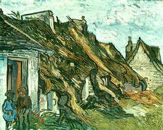 Old Cottages, Chaponval, 1890. Vincent van Gogh. Download painting.