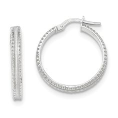 14k White Gold Polished/satin Ridged Edge Concave Hoop Earrings. We encourage you to read the product description below in full before you place your order. So that you do not receive a product that you did not expect, especially width/length if available. We offer 30 Days Hassle Free Returns!. Goldia is one of the top performing Jewelry/Gift Category Vendors in Amazon Prime.