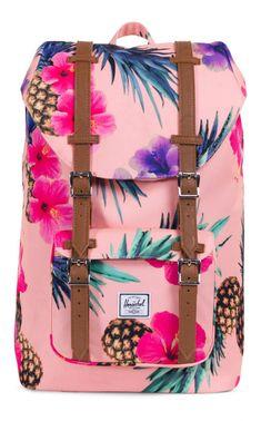 Herschel Little America Mid Backpack Poly Peach Pineapple Birthday Sash, Herschel Supply Co, Metal Pins, Striped Fabrics, Purse Wallet, Laptop Sleeves, America, Backpacks, Purses