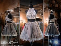 2015 Silver Two Piece Crop Top Homecoming Sweet Sixteen Dress from Rsvp Prom and Pageant