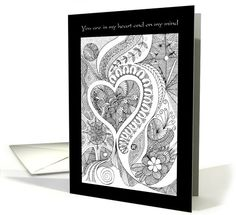 zentangle heart Greeting Card pinned with Pinvolve