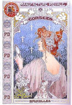 Manufacture Royale de Corsets by Henri Privat-Livemont (1861–1936).  Wikimedia.