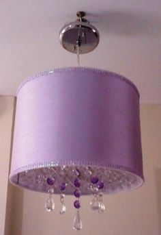 Lilac pendant shade with beads and crystals. Perfect for your little girl's room!