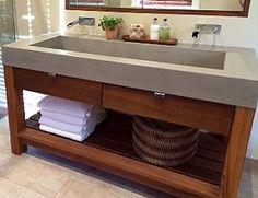 "60"" ADA Floating Concrete Sink"
