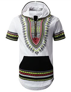 Mens Hippie Dashiki Half Zip Up Hoodie Short Sleeve Dashiki Hoodie, African Dashiki Shirt, Hip Hip, Modern Outfits, Chic Outfits, Africa Dress, Mens Attire, Afro, African Print Fashion