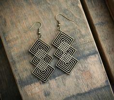 INKWISE interlocking diamond cut wood earrings. (via etsy)