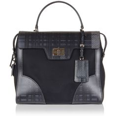 Prada Printed Leather and Fabric Hand Bag ($1,415) ❤ liked on Polyvore featuring bags, handbags, grey, grey handbags, grey purse, studded leather purse, studded leather handbag and leather handbags