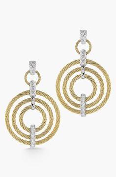ALOR Cable & Diamond Drop Earrings