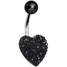 10mm Black Sparkler Heart Belly Ring #bodycandy #bellyring #piercing #gift #trending  $6.99