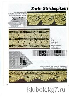 leaf edging and double leaf insertion lace, knitting, stricken Knitting Stiches, Crochet Stitches Patterns, Knitting Charts, Lace Patterns, Stitch Patterns, Mode Crochet, Knit Crochet, Knitting Designs, Knitting Projects