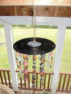 Items similar to Handmade Windchime With Bottle Caps and Vinyl Record on Etsy Handmade Windchime With Bottle Caps and Vinyl Record by JudybirdandHiawatha on Etsy Vinyl Record Projects, Vinyl Record Art, Vinyl Records, Vinyl Art, Record Wall, Bottle Cap Crafts, Bottle Caps, Hippy Room, Indie Room