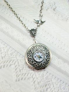 Silver Locket Necklace - Silver Compass Locket  - Steampunk Locket by BirdzNbeez. $26.00, via Etsy.