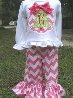 Girls Christmas Tree Chevron Ruffle Pant Set by juliesonny on Etsy