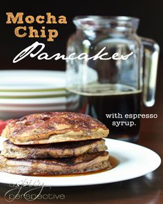 Mocha Chip Pancakes with Espresso Syrup by @Sommer | A Spicy Perspective