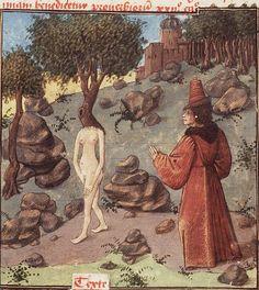 The Hague, KB, 74 G 27, f. 83r ('Daphne, pursued by Apollo, changes into a laurel-tree'). Christine de Pisan, L'Epistre d'Othea. Auvergne(?); c. 1450-1475. Under the circumstances, not the most efficient way to turn into a tree.