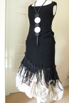 FAB ZUZA BART CREATION quirky 100% linen asymmetric dress /MEDIUM black SALE #zuzabart