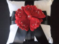 Ring Pillow Bearer Wedding White Black Red peony flower choose custom colors by ArtisanFeltStudio, $40.00