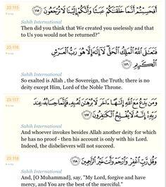 Surah Al-Mu'minun 115-118