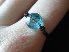 Quartz  Black Wire Wrapped Ring  Teal  Blue  Made to by JbellsGems, $7.00