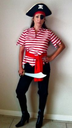 Check out my DIY Homemade Pirate Halloween Costume for Women! Easy!