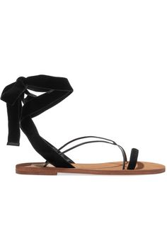 Valentino - Velvet And Leather Sandals - Black - IT