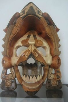 Mayan Mask Eagle Warrior Grumpy Mexican Aztec