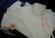 The Old Fashioned Baby Sewing Room: Lovely Example of Embroidered Raglan Daygown;  She used Baby Layette for the Bonnet and Slip. She used a different embroidery design at the front.
