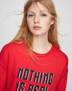 :Yazı baskılı sweatshirt