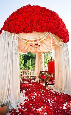 Asian #wedding #mandap decoration with roses