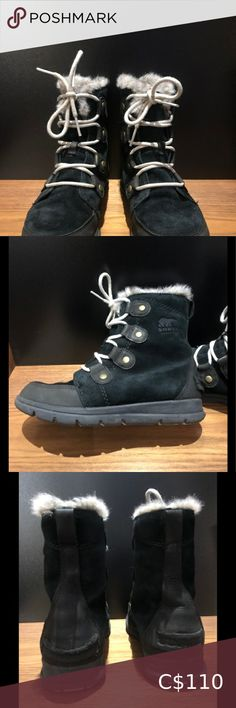 Sorel Winter Boots women's black suede US7.5 Impermeable super cute winter boots like new. In stores now Fall 2020 for $190 There is a slight wear on Left boot in the back where my daughter pushes the shoe off her foot. There is an extra tag of fabric that is stretched downward. Other than that the boots were not worn much and look almost brand new. The last two pictures are the ones I saw in Browns on display this November '20. Sorel Shoes Lace Up Boots Cute Winter Boots, Sorel Winter Boots, Sorel Boots, Leather Ankle Boots, Lace Up Boots, Leather Heels, Joan Of Arctic Wedge, Sorel Joan Of Arctic, Waterproof Winter Boots
