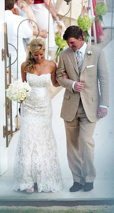 Ahh this is what in my wedding, from the lace dress to the tan suit...minus his tie.lol