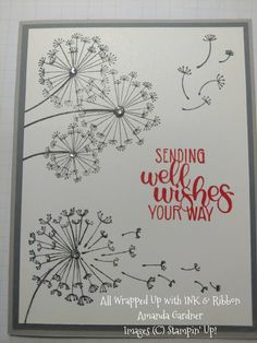 Dandelion Wishes done in Granite Grey and Smokey Slate. Poppy Parade adds the pop of color.