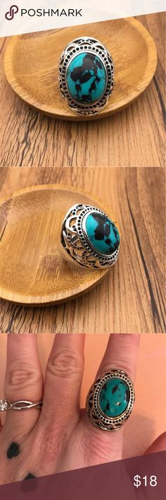 BOHO RING ⚡️Sale Stainless ring w blue/black faux stone  📫 SAME/NEXT DAY SHIPPING  🚭 SMOKE FREE  🐶 PET FRIENDLY 💎 BOUTIQUE ITEMS MAY NOT HAVE TAGS 🔱 NO TRADES 👗 NO MODELING 🌹 REALISTIC OFFERS WELCOME  📦 ANY BUNDLES OF 10 OR MORE, SUBMIT OFFER FOR 50% OFF Jewelry Rings