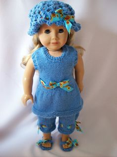 American Girl doll clothes  Blue belle knitted by StylinDolls, $30.00