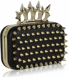 KCMODE Womens Spikes Skull Rings Designer Evening Clutch Bag Black Gold KCMODE  to enter online shopping or purchase click on Amazon right here  http://www.amazon.com/dp/B00CV580VI/ref=cm_sw_r_pi_dp_b-3Stb13CHTMSDHK