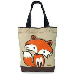 Fox-Simple Tote I want this! Fox Collection, Fox Bag, Fox Decor, Wheel Thrown Pottery, Little Fox, Fabric Bags, Red Fox, Handmade Pottery, Purses And Bags