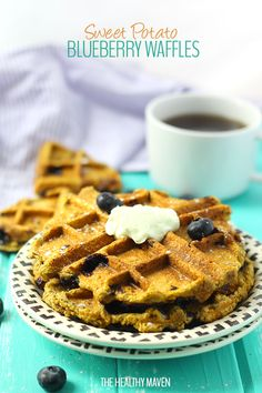 Sweet Potato Blueberry Waffles via The Healthy Maven!