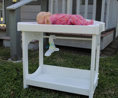 This is a solid wood changing table for baby dolls like the Bitty Baby. Comes with a pink changing pad which is washable. It has a rod for hanging & American Girl® Dolls: Changing Table Set DONT HAVE MUCH FURNITURE ...