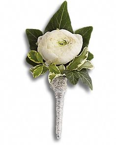 White ranunculus flower boutonniere at Send Flowers! White ranunculus floral boutonniere with pitta negra for jackets, dresses and tuxedos and evening wear. Ranunculus Wedding Bouquet, Ranunculus Boutonniere, Prom Corsage And Boutonniere, White Boutonniere, White Ranunculus, Wedding Bouquets, Corsages, Boutonnieres, Ranunculus Centerpiece