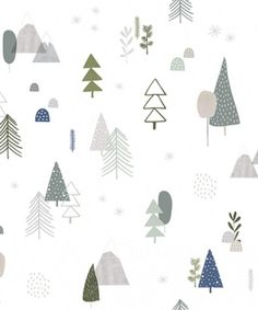 Tapeta Forest Lilipinso w kategorii Lilipinso / Tapety Tapeta Forest Lilipinso Forest Wallpaper, Kids Wallpaper, Room Wallpaper, Pattern Wallpaper, Cute Christmas Wallpaper, Christmas Background, Baby Illustration, Christmas Illustration, Illustrations
