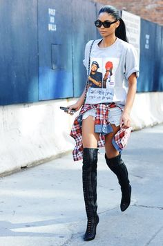 35 Over the Knee Boots and Ways To Wear Them – Chanel Iman Street Style Denim Cutoffs, Ripped Shorts, Fall Outfits, Casual Outfits, Cute Outfits, Mode City, Looks Style, My Style, Goth Style