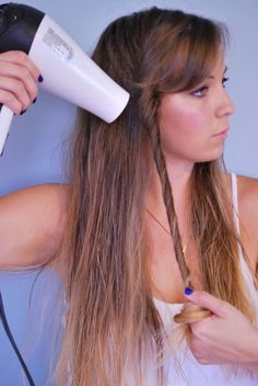 easy blow dryer waves! #hair #tutorial...brilliant! I usually just put it up in a bun and wait for it to dry...but this is a genius idea! | 20 best hair tips you'll ever read